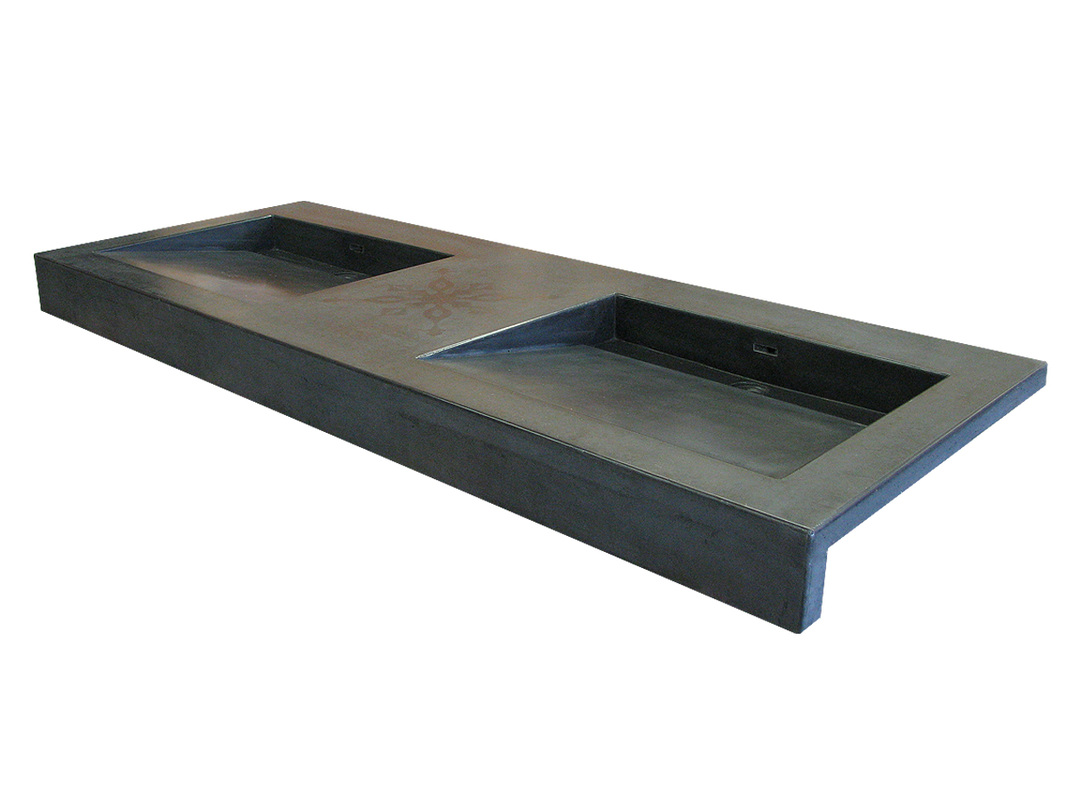 Double Vanity Ramp Sink In Charcoal