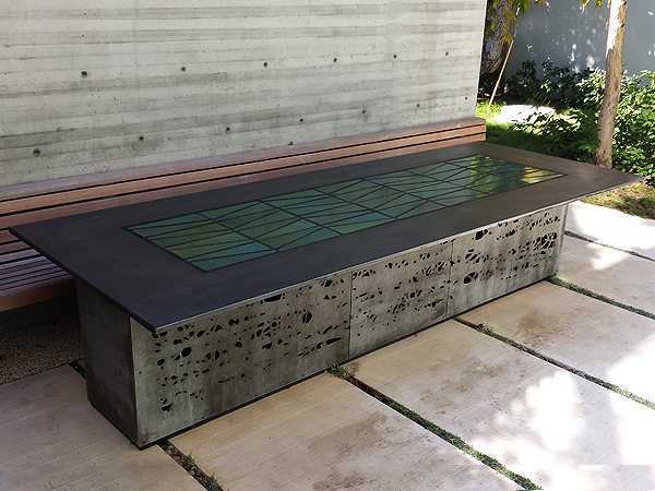 precast concrete dining table top charcoal heath tile inlay uk nz round