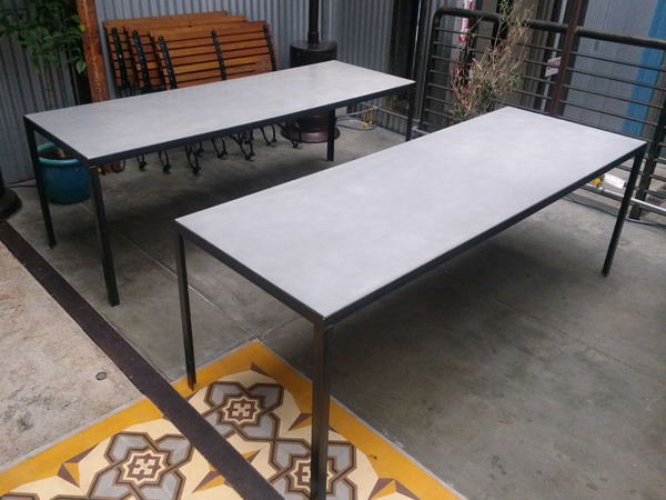 Concrete Dining Tables In Natural Gray For Bestia, Downtown Los Angeles